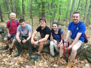 The Newbury Trail Crew consisted of (from left to right) Greg Labrie, Skylar Bergeron, Carl Hubbard, Warren Quinlan, Dave Gardner and Nathan Richer (not shown).